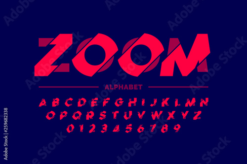 Fotografia  Modern font design, zoom style alphabet letters and numbers