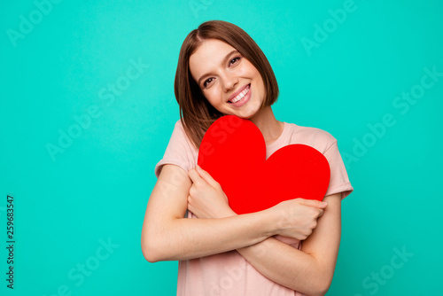 Carta da parati  Close up photo beautiful funny funky her she lady overjoyed hold close hands arm