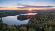 Scenic Landscape With Lake And Sunset At Evening In Aulanko, Nature Reserve, Finland