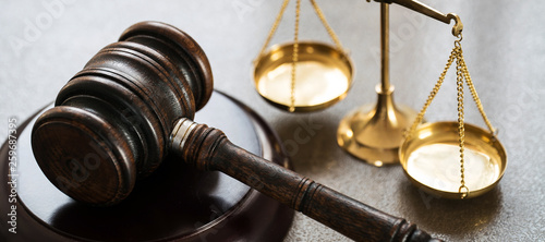 Vászonkép Law and Justice Concept Image, Grey stone background