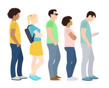 Full Length Of Cartoon People Standing In Line