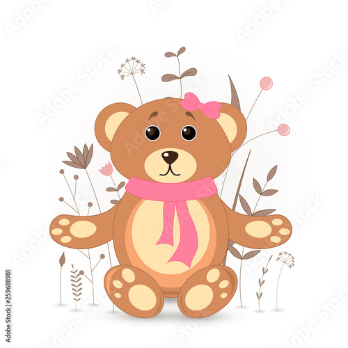Gift postcard with cartoon animals bear. Decorative floral background with branches and plants. #259688981