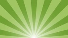 Green And White Sunburst Background - Vector Illustration