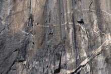 Climbers Attempt To Climb Jagged Granite Of El Capitan In Yosemite National Park