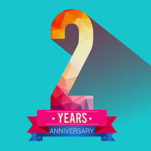 2 Years Anniversary Logo. With Colorful Polygonal Design Elements.