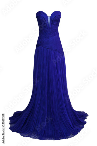 Canvas Print Luxury evening dark blue dress with crystals, sequins and payets isolated on whi