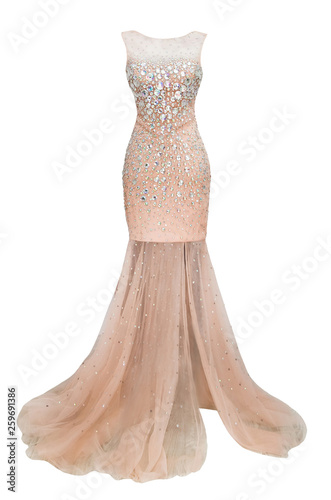Luxury evening pink dress of chiffon transparent fabric with crystals, sequins a Fototapeta