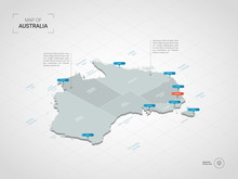 Isometric 3D Australia Map. Stylized Vector Map Illustration With Cities, Borders, Capital, Administrative Divisions And Pointer Marks; Gradient Background With Grid.