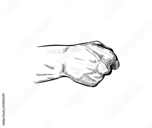 Hand of a man clenched into a fist, view from the back side Canvas-taulu