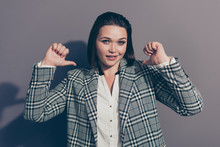 Closeup Photo Portrait Of Cunning Foxy Looking At Camera Pointing At Herself Smiling She Her Lady Wearing Stylish Plaid Checkered Blazer Isolated Grey Background