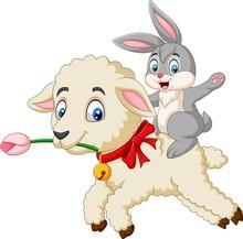 Cartoon Cute Bunny Riding A Lamb
