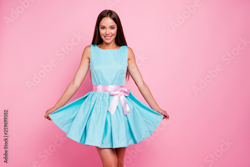 Fototapeta Very charming Portrait of lovely elegant gentle tender lady isolated touching her bright modern outfit with ribbon feeling independent on pastel background obraz na płótnie