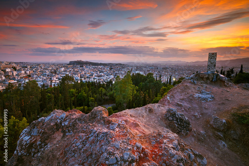 View of Athens and Acropolis from Strefi Hill.