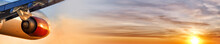 Sunset Sky Background And Airplane On Ultra Wide Design Banner Aerial View Of Modern Business Jet Passenger Plane Fly With Orange Evening Sun On Beautiful Clouds Air Transportation Panorama Landscape