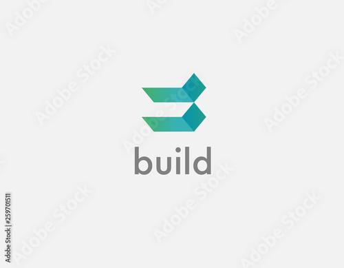 Fotografia, Obraz  Logo geometric shapes gradient green for construction company