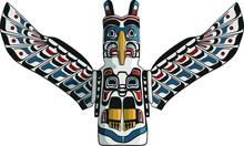 Native American Eagle Totem Vector. Traditional Thunderbird Icon. American Mythology Symbol.