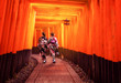 canvas print picture - Kyoto, Japan Culture Travel - Asian traveler wearing traditional Japanese kimono walking in Fushimi Inari Shrine in the old town of Kyoto, Japan.
