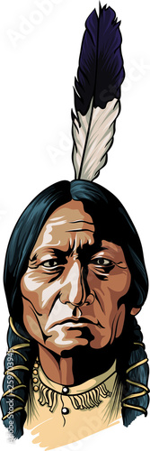 Hand drawn vector sitting bull portrait native american chief Fototapeta