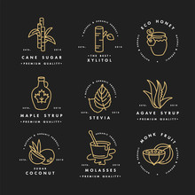 Vector Golden Set Of Logos, Badges And Icons For Natural And Organic Products. Collection Symbol Of Healthy Products And Sugar Alternatives, Natural Substitutes.