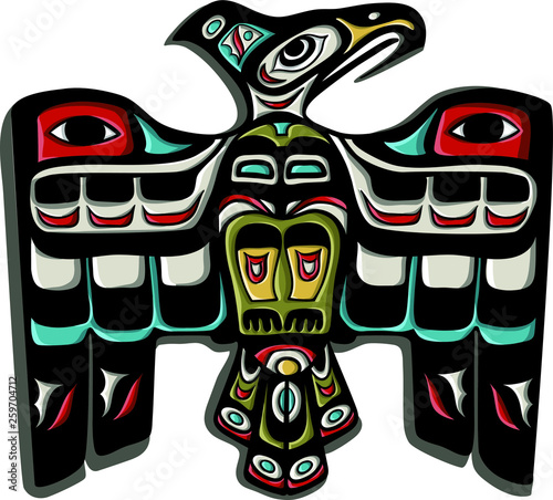 Photo Traditional thunderbird eagle vector. Native american symbol.