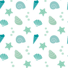 Cute Summer Exotic Seamless Vector Pattern Background Illustration With Seashells