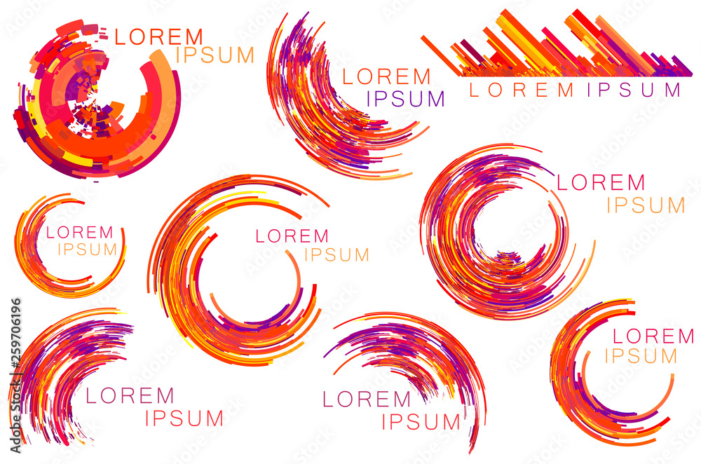 Fototapety, obrazy: Red purple orange color tone circle, crescent shapes, symbols, icons set.
