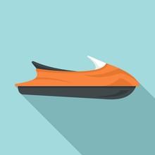 Ocean Jet Ski Icon. Flat Illustration Of Ocean Jet Ski Vector Icon For Web Design