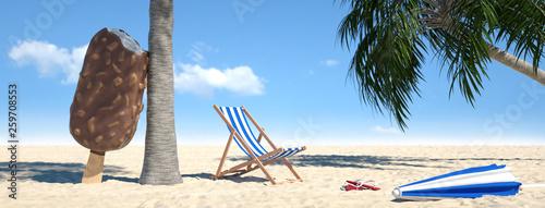 Fotografía  Strand mit Liegestuhl und Eis am Stiel