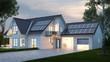 canvas print picture - Haus mit Beleuchtung abends vor Himmel
