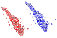Sketch Sumatra Letter Text Map, Sumatra (Republic Of Indonesia, Greater Sunda Islands) - In The Shape Of The Continent, Map Sumatra - Red And Blue Vector Illustration
