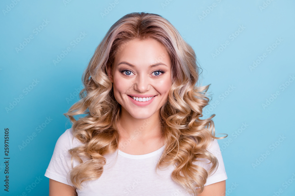 Fototapety, obrazy: Close up photo beautiful amazing wonderful her she lady wave wealth hair styling shiny sincerely eyes show ideal teeth wearing casual white t-shirt clothes outfit isolated bright blue background