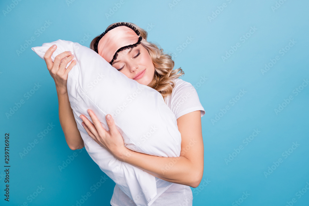 Fototapety, obrazy: Close up photo beautiful funky her she lady hands arms palms hold cuddle big large pillow careless expression glad day off wear sleeping pink mask casual white t-shirt clothes isolated blue background