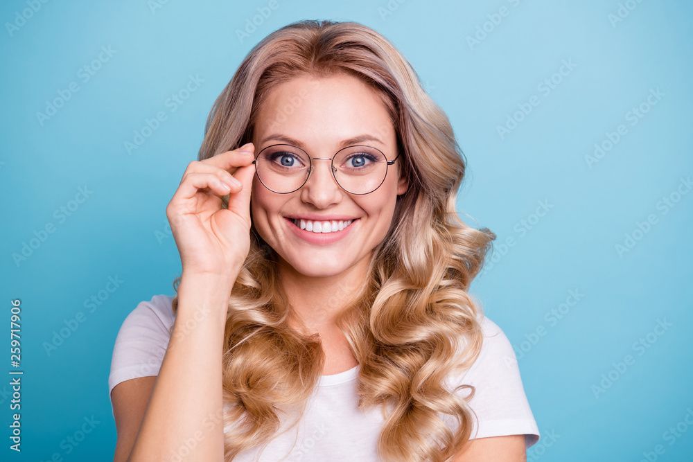 Fototapety, obrazy: Close-up portrait of her she nice-looking lovely attractive cheerful wavy-haired lady wearing casual white tshirt touching glasses healthy health care isolated on blue pastel background