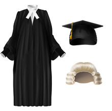 Judge, University Professor, Student Graduation Ceremonial Clothing Realistic Vector Set Isolated On White Background. Wooden Gavel, Court Dress Black Robe With Tie, Square Academic Cap Illustration