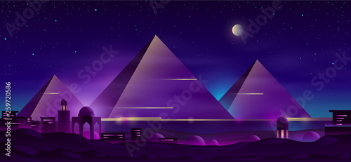 Poster Violet Giza plateau nigh landscape with egyptian pharaohs pyramids complex illuminated with moonlight neon colors cartoon vector background. Ancient historical, famous touristic attractions in african desert
