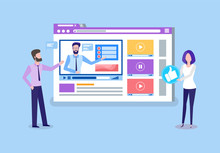 Online Courses Teachers Uploading Tutoring Videos Vector. People Professional Tutors Looking On Screen, Lady Holding Thumb Up Like Button Remote Education