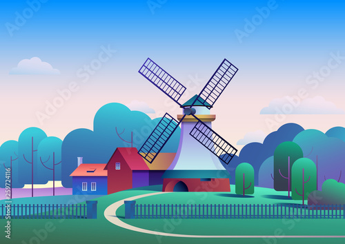 Countryside morning landscape with mill and farm on meadow, trees and forest on background - flat vector illustration.