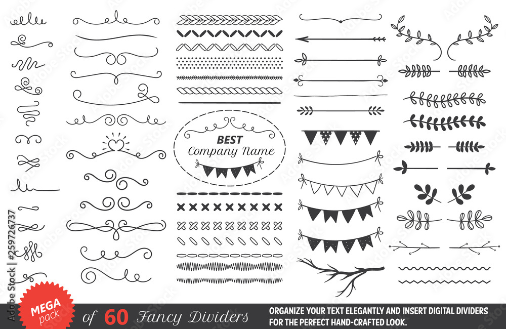 Fototapety, obrazy: dividers, flourishes, calligraphy and lettering elements. isolated vector text decor elements.