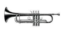 Trumpet Hand Draw Vintage Styl...