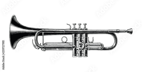 Canvas Print Trumpet hand draw vintage style black and white clip art isolated on white backg