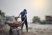 Child Labor In Building Commercial Building Structures. World Labor Day Concept