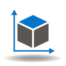 Dimension Icon Vector. 3D Square Measurement Axis Drawing Illustration. Dimensions Logo.