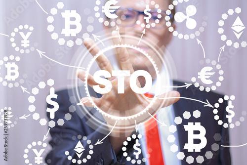 Fotografía  STO Security Token Offering Modern Financial Invest Technology.