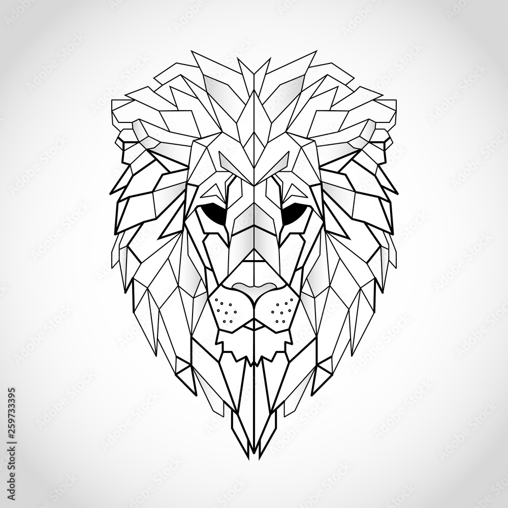Fototapeta African lion head icon. Abstract triangular style. Contour for tattoo, logo, emblem and design element. Hand drawn sketch