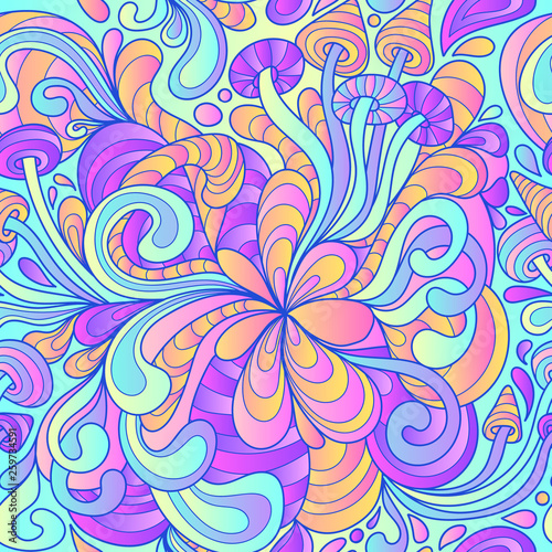 Seamless pattern with colorful magic mushrooms in doodle style Wallpaper Mural