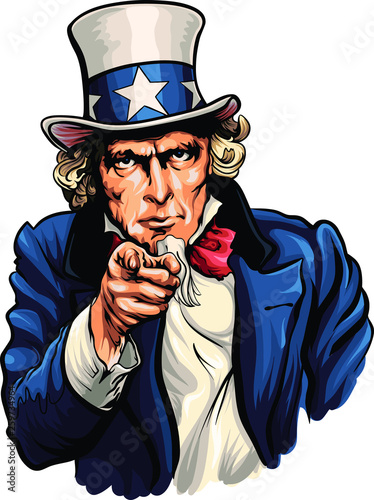 Fototapeta Uncle Sam vector illustration with pointing hand.