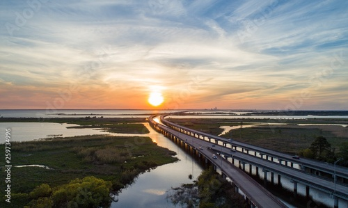 Sunset over Mobile Bay, Alabama Wallpaper Mural