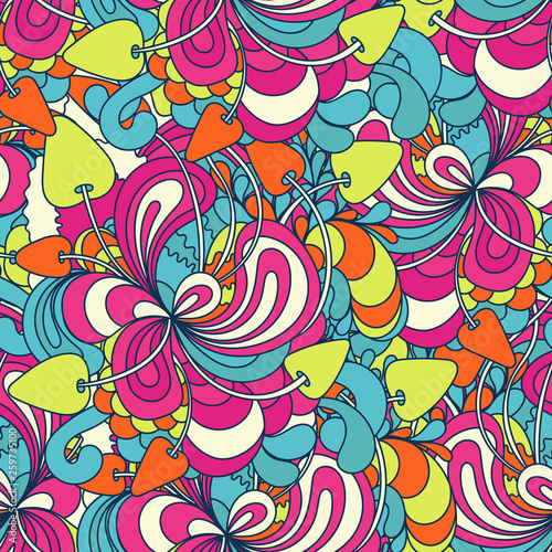 Photo Seamless pattern with colorful magic mushrooms in doodle style
