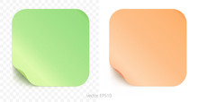Vector Set Of Adhesive Stickers With A Folded Edges. Paper Rounded Squares Of Lime Green And Peachy Orange Gradients. Blank Templates. Empty Mockup Of Tags With Realistic Textures. Transparent Shadows