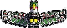 Hand Drawn Eagle Totem In Duncan Vector Illustration.